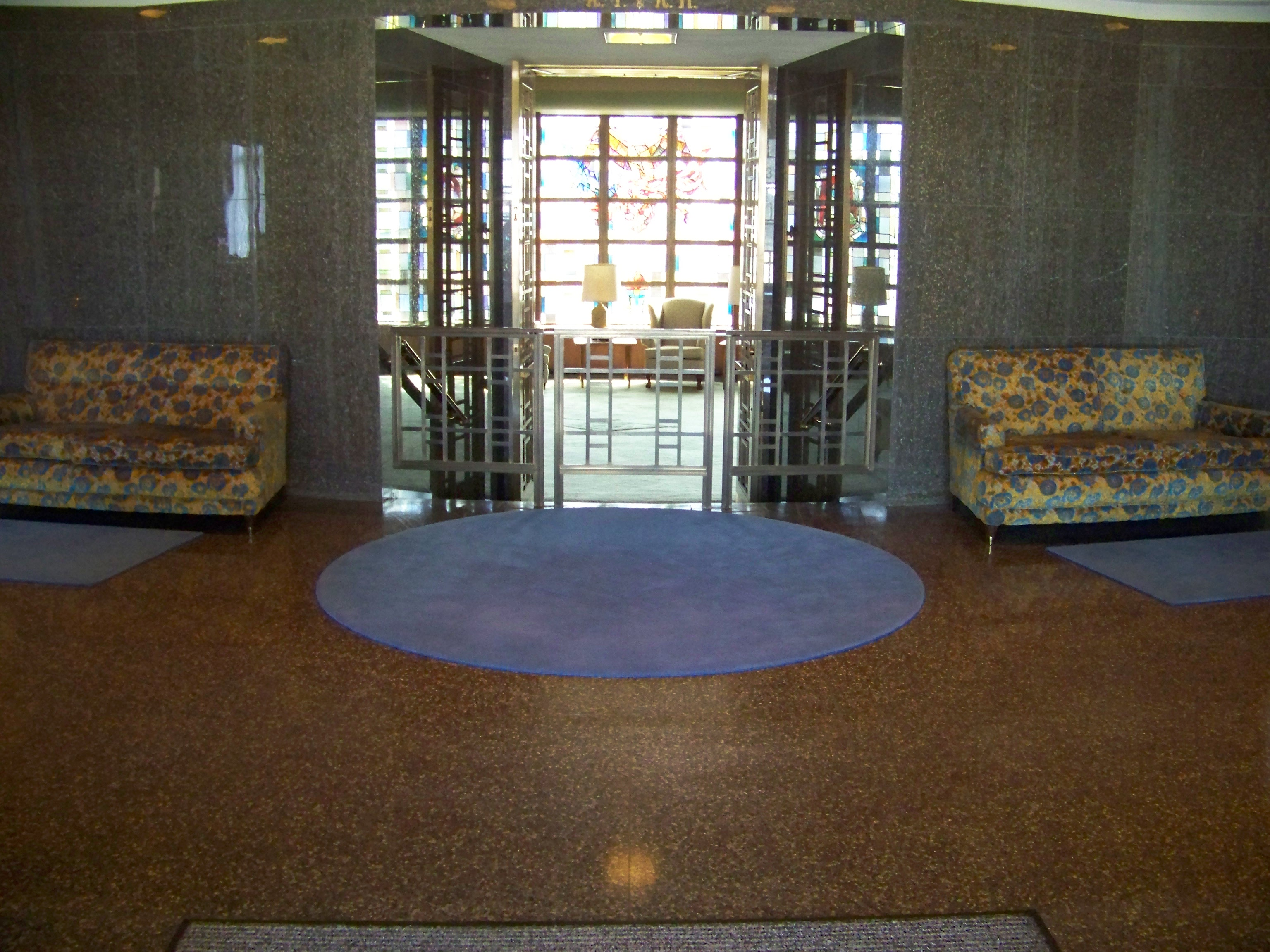 Foyer of the Iowa Masonic Library looking into the War Memorial Room