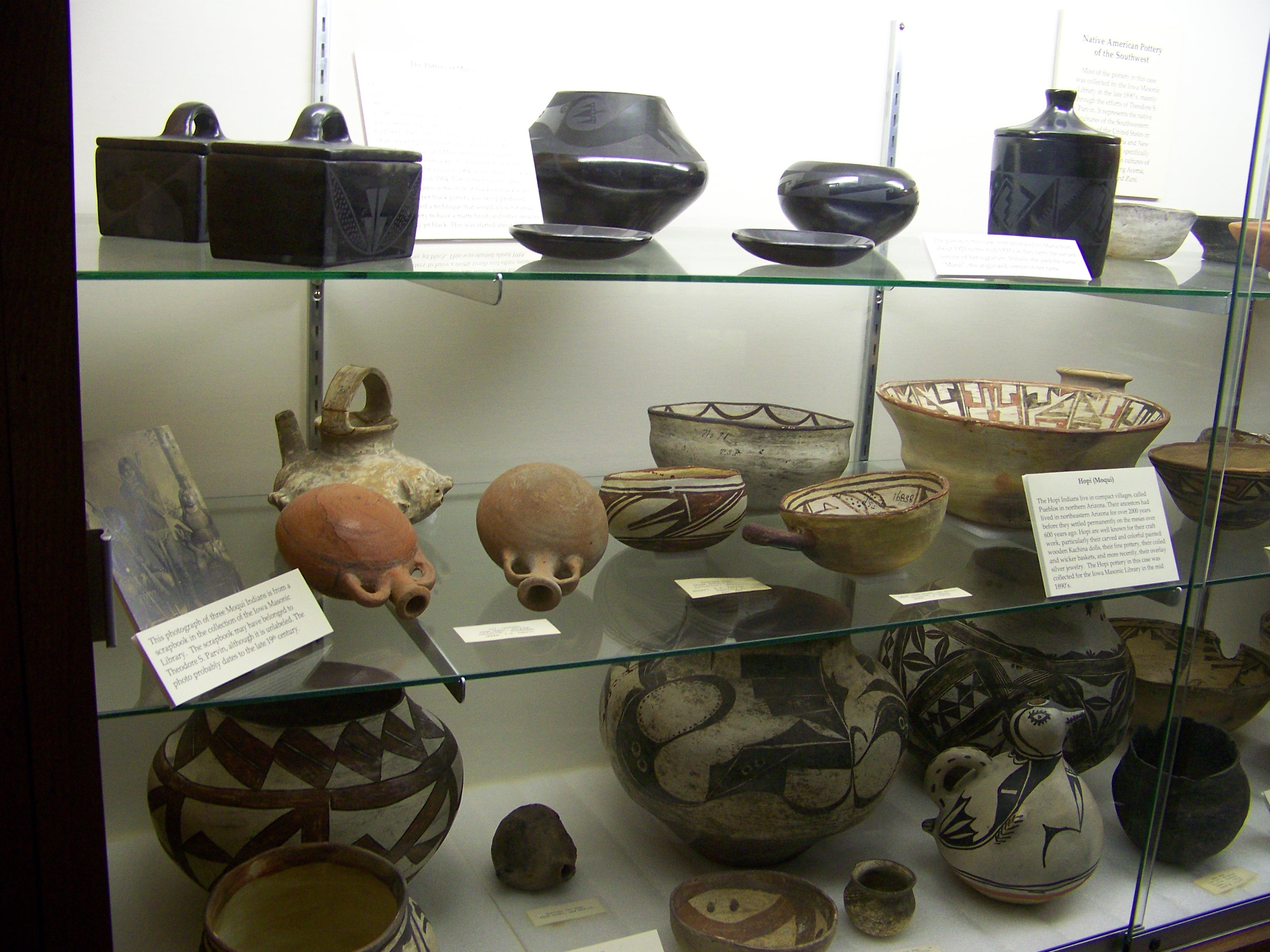 The pottery in this exhibit  specifically represents the Pueblo cultures of this region, including Acoma, Hopi (Moqui), and Zuni.