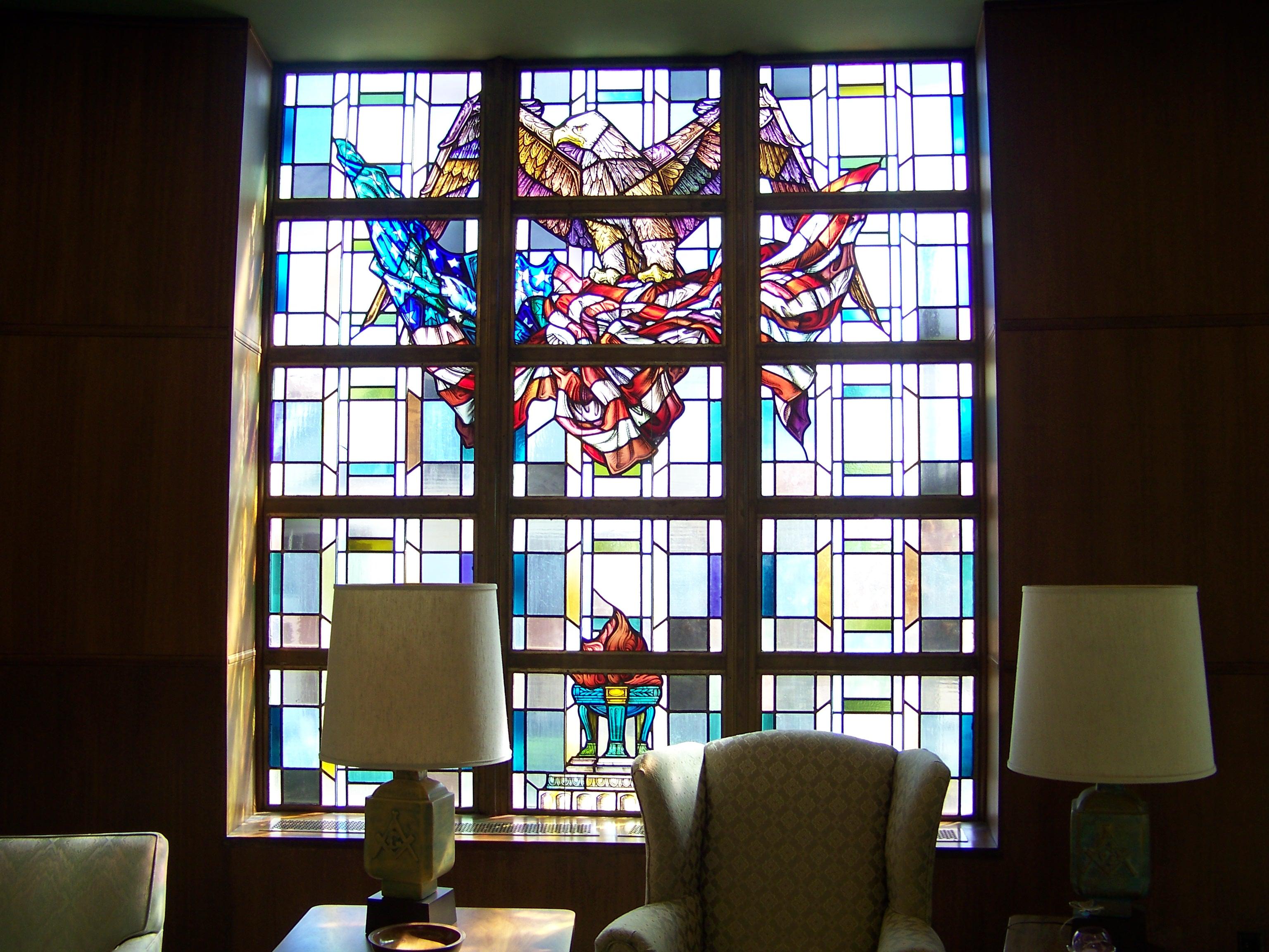 South center window War Memorial room